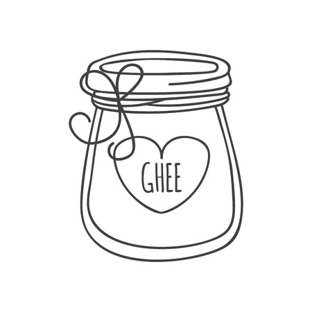 Ghee. Outline illustration of a glass with Indian ghee butter. Heart shaped label isolated on white. Ayurveda, healthy eating and culinary theme.