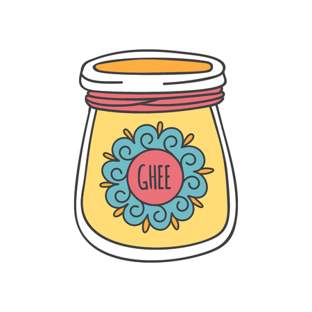Ghee illustration of traditional Indian ghee butter. Cute doodle jar with a decorative rope and a round shaped label with ornament. Healthy eating and Culinary topic.