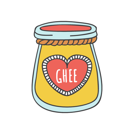 Ghee illustration of a glass with Indian ghee butter. Cute doodle jar with a decorative rope and a heart shaped label. Cartoon element.