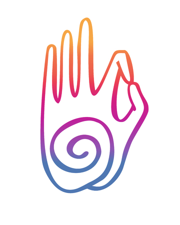Gesture of a spiral symbol. Freehand icon for meditation, yoga, esoteric, spiritual concept design. Hand drawn element in bright colorful gradient