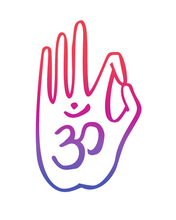 gesture of buddhist gesture with the Om symbol. Freehand icon for meditation, yoga, esoteric, spiritual concept design. Hand drawn element in bright colorful gradient. Illustration