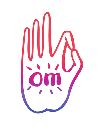 gesture of buddhist gesture with Om word. Freehand icon for meditation, yoga, esoteric, spiritual concept design. Hand drawn element with colorful gradient Ilustrace