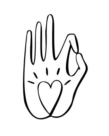 illustration of a gesture with a heart symbol. Freehand icon for meditation, yoga, esoteric, spiritual concept design. Hand drawn element with vivid lines in black. Ilustrace