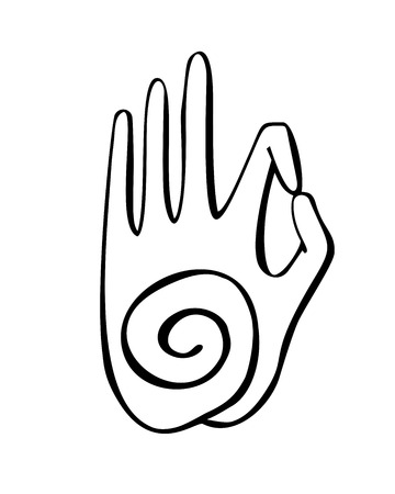 Gesture of a spiral symbol. Freehand icon for meditation, yoga, esoteric, spiritual concept design. Hand drawn element with vivid lines.
