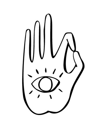 illustration of a buddhist gesture with the eye symbol. Freehand icon for meditation, yoga, esoteric, spiritual concept design. Hand drawn element with vivid lines.