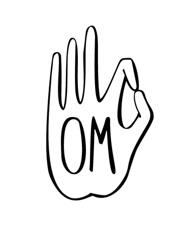 gesture of buddhist gesture with Om word. Freehand icon for meditation, yoga, esoteric, spiritual concept design. Hand drawn element with vivid lines.