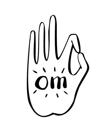 gesture of buddhist gesture with symbol Om. Freehand icon for meditation, yoga, esoteric, spiritual concept design. Hand drawn element of vivid black lines. Illustration