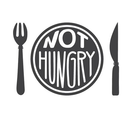 Geen honger. Intermitterend vasten concept. Handgetekende letters, een mes en een motiverende boodschap. Inspirerende quote voor een gezonde levensstijl en eten.