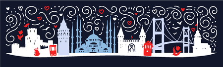 Modern flat horizontal illustration with turkish symbols: tower, bridge, gate, mosque in Turkey. Skyline silhouette banner with doodle swirls on dark blue background.