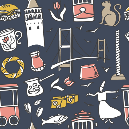 seamless pattern Istanbul landmarks. Hand drawn doodles of turkish symbols on dark blue background. Modern clear line design for print, backdrop, wrapping paper or wallpaper.