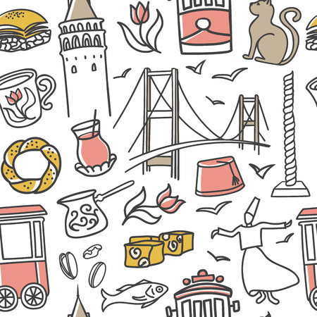 Istanbul, Turkey. Doodles of turkish symbols on white background. Modern clear line design for print, backdrop, wrapping paper.
