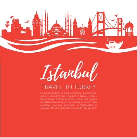 Istanbul. Travel to Turkey. Modern flat illustration of famous turkish landmarks: Galata Tower, Bosphorus bridge, Blue Mosque. Panoramic skyline silhouette with waves on red square background.