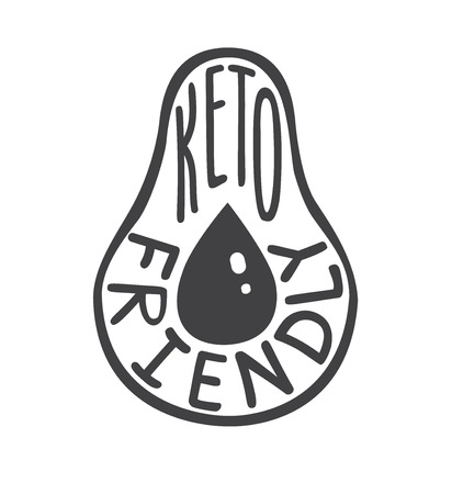 Keto friendly. flat illustration with hand written phrase isolated on white background. Ketogenic and low carb high fat diet.
