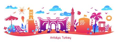 Bright modern vector illustration Antalya, Turkey. Horizontal panoramic scene of famous turkish symbols and landmarks. Travel card, poster, print design in flat style with colorful gradient. Illustration