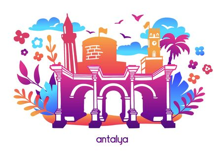 Bright modern vector illustration Antalya, Turkey. Travel card, poster, print design in flat style with colorful gradient. Famous turkish attractions: Hadrians gate, Clock tower, Minaret, Fortress.