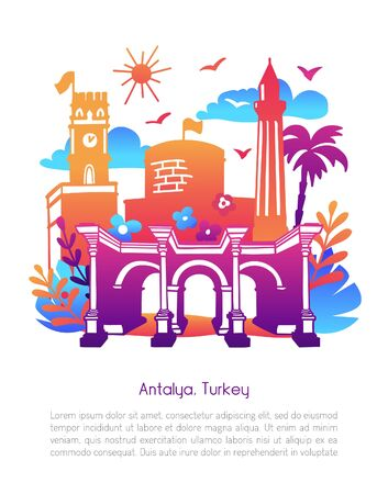 Antalya, Turkey. Modern illustration with symbols of turkish resort city: Clock tower, Hadrians gate, Minaret. Tropical leaves and flowers, bright colorful gradient. Travel card and poster design. Ilustrace