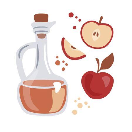 Ilustración vectorial de moda Vinagre de sidra de manzana. Jarra de cristal con vinagre fermentado y frutas frescas. Elementos de estilo plano moderno aislado sobre fondo blanco. Tema de cocina y alimentación saludable.