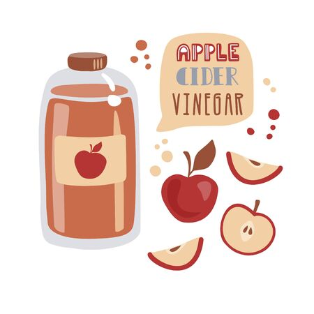 Vector illustration Apple cider vinegar in trendy flat style. Tall glass bottle with fermented vinegar, fresh sliced fruits, decorative dots and hand lettering. Card, poster design for healthy eating.
