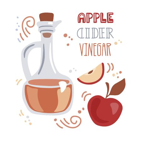 Trendy vector illustration Apple cider vinegar. Glass pitcher with the fermented vinegar and fresh fruits. Elements in modern flat style isolated on white background. Healthy eating and cooking theme.