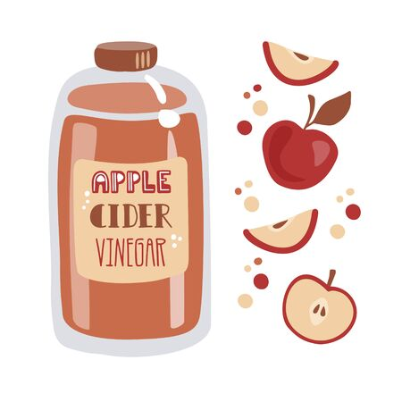 Apple cider vinegar. Tall glass bottle with fermented vinegar, fresh sliced fruits, and decorative dots. Vector illustration in trendy flat style. Card, poster design for healthy eating and cooking. Иллюстрация