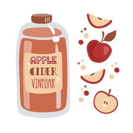 Vinagre de sidra de manzana. Botella alta de vidrio con vinagre fermentado, frutas frescas en rodajas y puntos decorativos. Ilustración de vector de estilo plano de moda. Tarjeta, diseño de carteles para cocinar y comer sano.