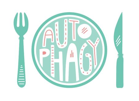Autophagy. Flat vector illustration with hand lettering. Intermittent fasting concept. Doodle plate, fork, knife isolated on white background. Healthy eating card, poster, leaflet, print design. Çizim