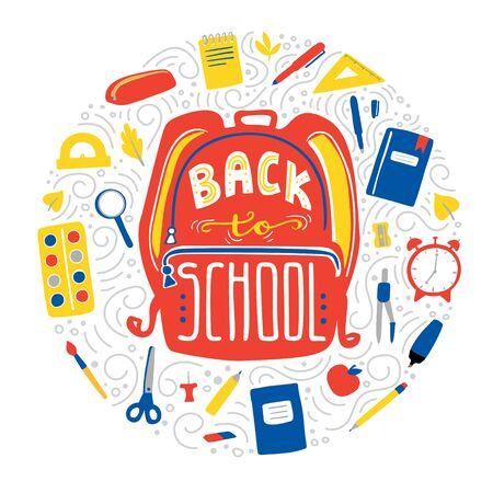Vector illustration Back to school in circle composition with hand lettering. Student backpack with hand written phrase and doodle school supplies: book, pencil, pen, ruler, eraser, scissors, markers.