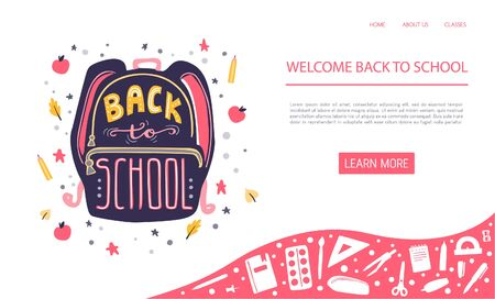 Vector illustration Back to school with lettering. Hand written phrase on a backpack and doodle stars, apples, pencils and autumn leaves. Midern banner design for website promotion. Ilustrace