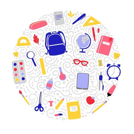 Vector illustration of school supplies. Hand drawn doodle elements: backpack, globe, clock, pen, pencil, ruler in circle composition with decorative swirls. Back to school card, poster, banner design.