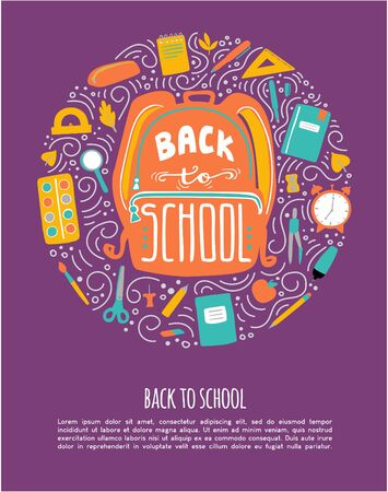 Vector illustration Back to school with circle composition and place for text. Hand drawn doodle school supplies on dark background. Card, poster, promotion banner design for stationary store. Ilustrace