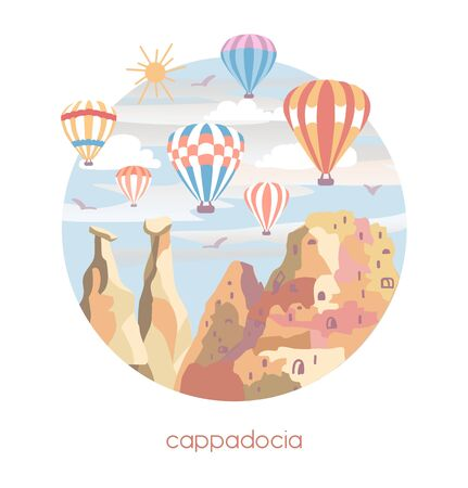 Vector illustration Cappadocia. Famous turkish travel destination in flat style. The fairy chimneys, rocks, stones, fortress and bright colorful hot air ballons in the sky. Travel to Turkey concept.