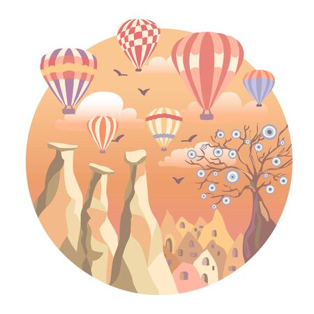 Cappadocia, Turkey. Vector illustration of a famous turkish travel destination. Anatolian landmarks: fairy chimneys, rocks, stones, the Evil tree, bright colorful hot air ballons in the sunset sky. Illustration