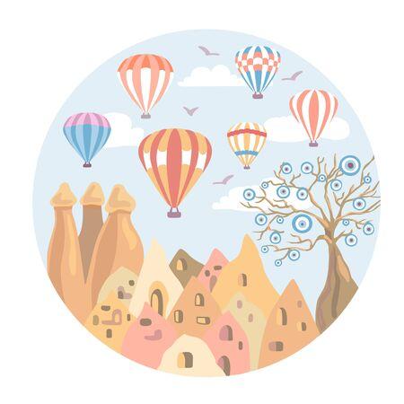 Kappadokien, Türkei. Moderne flache Vektorgrafik mit einem berühmten türkischen Wahrzeichen. Die Feenkamine, Felsen, Steine, der böse Baum, leuchtend bunte Heißluftballons am Himmel. Reisekonzeption.
