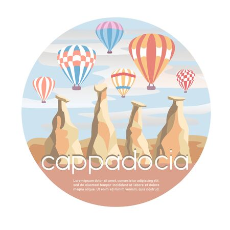 Cappadocia, Turkey. Modern vector illustration with a famous turkish landmark in the flat style. The fairy chimneys, rocks, stones, and bright colorful hot air ballons in the sky. Travel conception. Illustration