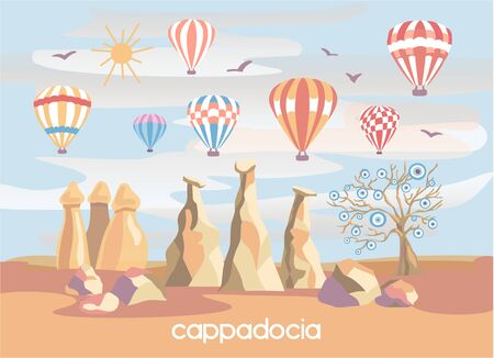 Vector illustration Cappadocia, Turkey. Famous turkish travel destination in modern flat style. The fairy chimneys, rocks, stones, evil tree and colorful stripped hot air ballons in the cloudy sky.