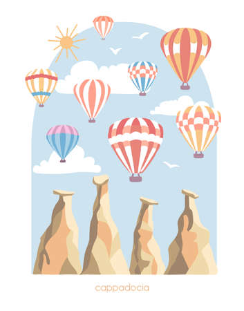 Vector travel illustration of Cappadocia, Turkey. Modern flat illustration of a famous turkish landmark. The fairy chimneys, rocks, stones, bright colorful hot air ballons. Vertical banner design.