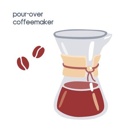 Illustration vectorielle alternative de préparation du café - verser sur la cafetière en verre. Objet plat moderne isolé sur fond blanc pour café, cafétéria, boutique, conception de menus.