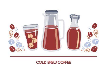 Horizontal vector illustration Cold brew coffee. Tall glass bottle, pot, cup with iced drink. Alternative method of brewing coffee. Card, banner, poster design for cafe, restaurant, shop. Ilustrace
