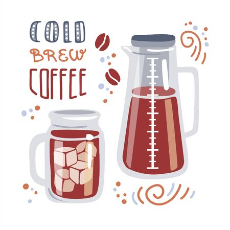 Trendy flat illustration Cold brew coffee. Glass of iced beverage and filter coffee maker. Mug, coffee-making device, ice cubes, coffee beans, swirls, dots and hand lettering. Card, poster design.