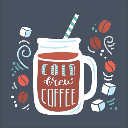 Vector illustration Cold brew coffee with hand drawn elements on dark blue background. Doodle glass mug with a straw and delicious beverage and ice cubes, coffee beans, swirls. Card, poster design.