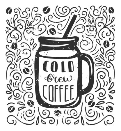 Vector monochrome illustration Cold Brew Coffee with hand lettering in flat style. Doodle glass with beverage, decorative swirls, coffee beans. Card, poster, flyer, print design for cafe, restaurants.
