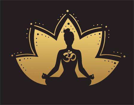 Illustration vectorielle de yoga dans les couleurs noir et or. Silhouette d'une femme en méditation, fleur de lotus et symbole religieux Om. Dégradé d'or. Icône de yoga pour la conception de logo, affiche, bannière, flyer ou carte. Logo