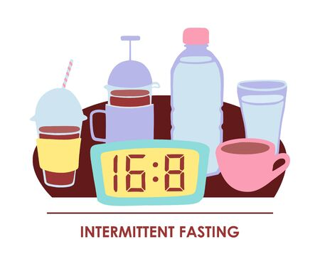 Vector illustration Intermittent fasting. Doodle clock showing time restricted eating window and allowed drinks: bottle and glass of water, tea mug, coffee cup. Informational card or poster design.