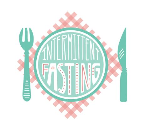 Intermittent Fasting. Vector illustration of a plate on red checkered table napkin with a fork and a knife and hand lettering. Modern flat motivational card, poster, bprint design on Fast theme.