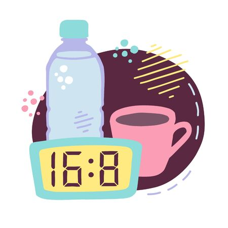 Vector illustration Intermittent fasting. Cute hand drawn bottle with water, cup of coffee and clock with the eating window. Time restricting eating image in modern flat style with doodle decorations. Ilustrace