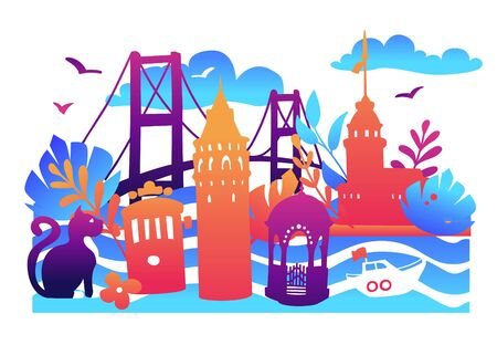 Bright modern vector illustration Istanbul with famous turkish landmarks, tropical flowers and leaves in colorful gradient. Travel to Turkey concept card, banner, leaflet, flyer or poster design.