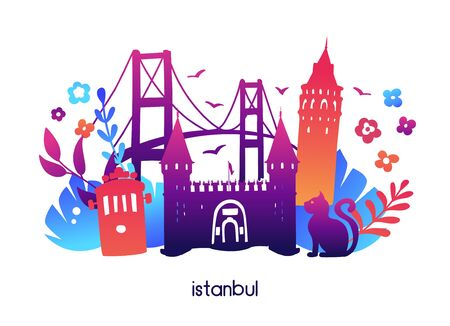 Istanbul, Turkey. Vector illustration with symbols of turkish city: Galata tower, Topkapi palace gate, Bosphorus bridge. Tropical leaves and flowers, colorful gradient. Travel card, poster design.