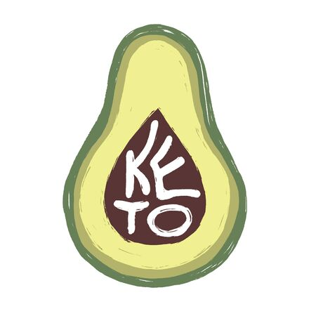 Keto. Hand drawn vector flat illustration of an avocado with hand written word with texture isolated on white background. Motivational card on healthy eating, ketogenic and low card high fat diet.