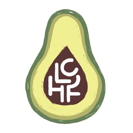 Low Carb High Fat. Vector flat illustration of an avocado with hand written letters. Minimalist iconor logo design on healthy eating, keto diet topic with hand drawn texture.