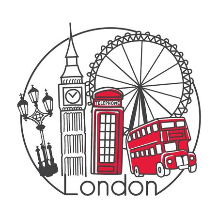 Vector illustration London, Great Britain in modern minimalist line style. Hand drawn doodle outline objects in circle frame. Big ben, street lamp, telephone box, double decker bus, observation wheel Illustration